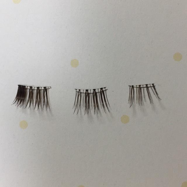 切る時は眉バサミなどで丁寧にしてください♡  切り終わった写真がこれ。 左から、 目尻、黒目上、目頭 のもの。
