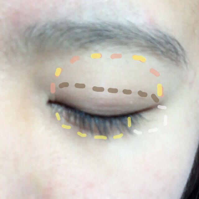 アイホール全体に①を塗って、その上から②を塗る。私は指で塗ります!涙袋には目頭から黒目の終わりまで②を塗り、目尻に④を塗ります。これはチップで塗ります!