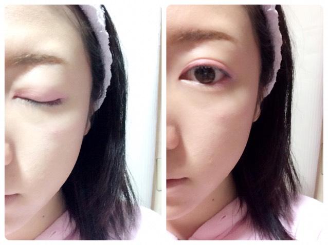 ペンシルのピンクシャドウを上まぶた、目の下目尻に塗ります
