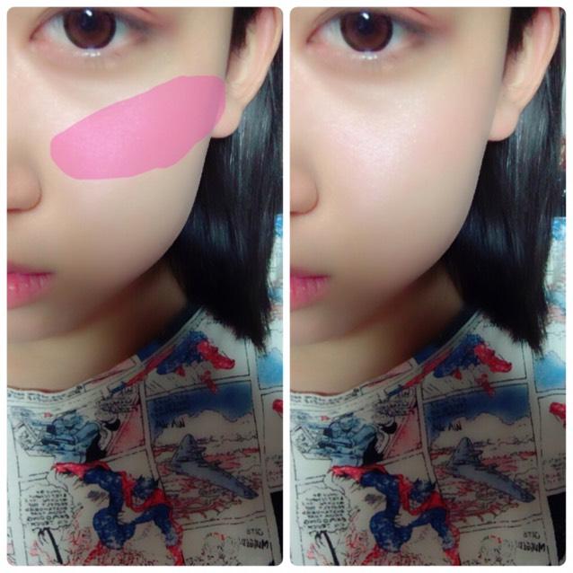 チークは指でとって鼻の横からうすーく伸ばす。