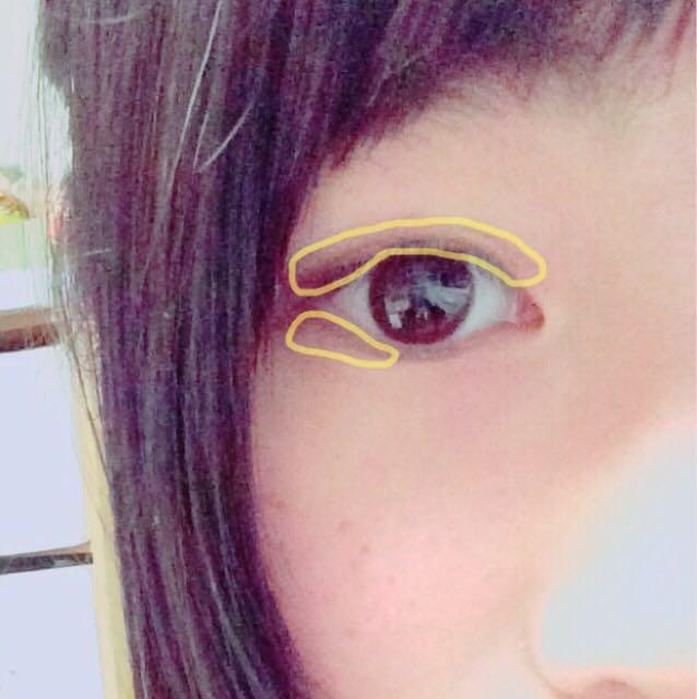 きいろ→濃ゆい茶色のシャドウ