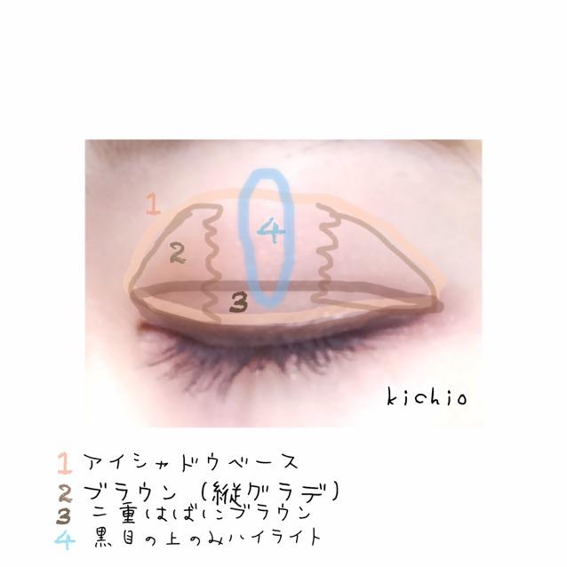 上瞼の説明  1、アイシャドウベースを瞼全体に  2、黒目の上の端から目の両端に向けて濃くなるようにブラウンを乗せる  これで立体的に見える!  3、二重はばに3のブラウン  これは2のブラウンより赤みのある色です  4、黒目の上のみに4のパール系シャドウ