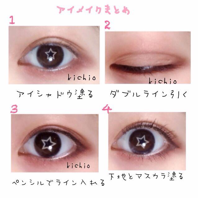 到這裡我們先來彙整一下剛才的步驟。與其說是畫眼線,不如說是在強調眼睛的輪廓(以動漫角色的眼睛為概念)。