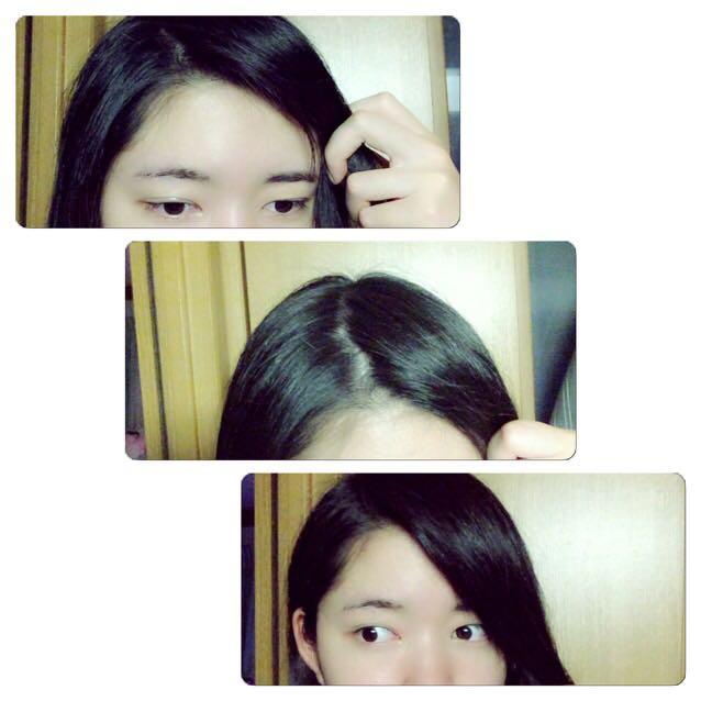 色っぽバングの作り方です! まず、分け目にしたい所をラフに分けて、実際の流れ加減などをイメージしましょう! この時、前髪が普通にある人は後ろの方から髪を持ってくるようにします!