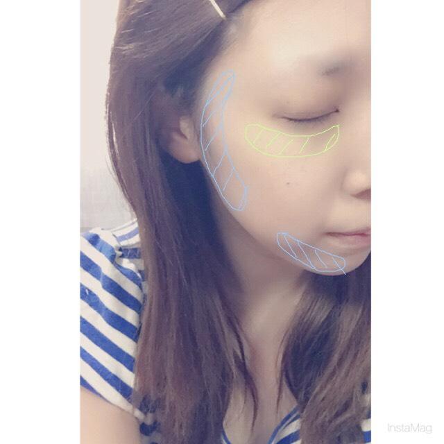 目の下にハイライト。たまご型が悩みなので顔まわりをフェイスカラーで囲んでいれて影が出来るので顔もシュッとして見えます。