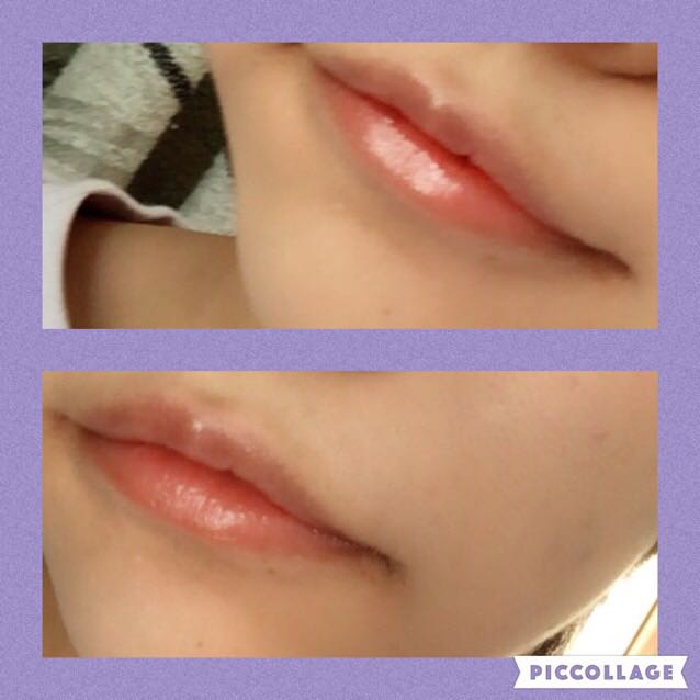 リップで保湿したあと、口紅を塗ります。チークもそうですが、口紅とチークは赤みが強いのよりもオレンジやピンクよりのほうが肌に馴染んで健康的にみえます。ドラッグストアなどにいるビューティーアドバイザーさんなどに聞いてみてください。