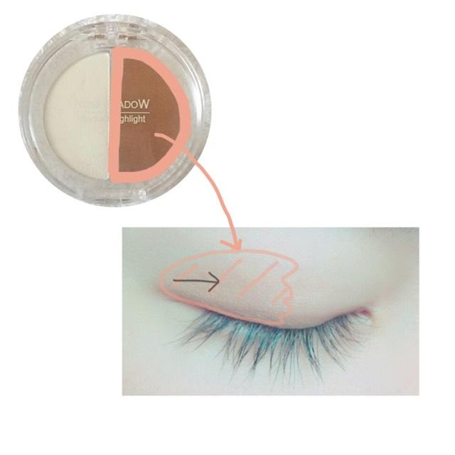 用刷子將「Ellefar」的鼻影粉A(一般膚色) 暈染在眼尾至黑眼珠的位置 ※眼頭不要塗