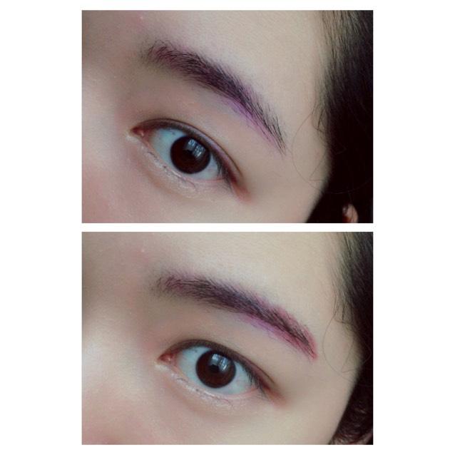 眉毛は流行りのピンクブラウンを本気でやってみようと思います。 アイシャドウに使ったピンクを眉全体に色付けるように入れこみ、アイラインに使ったバーガンディーをいつもの眉ペンシルの容量で足りない所を足します。