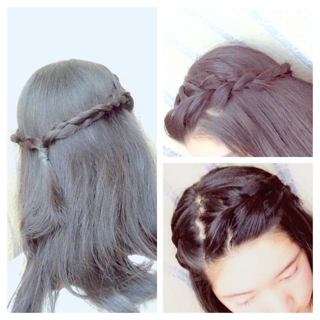 ちなみに髪型! 前髪を8:2くらいで分けて編み込みしたものを途中から三つ編みにして後ろでひとつにします。 ただ結ぶだけだと侍みたいにピョンとはねるので、結んだところをくるりんぱして終わります!