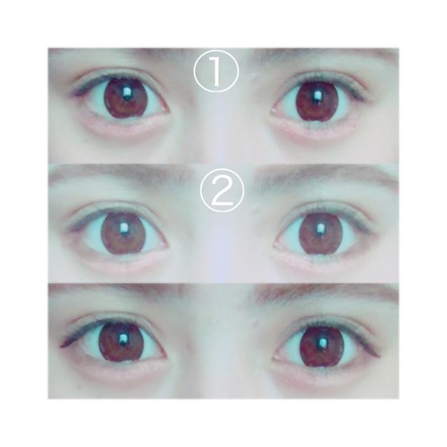 首先淚袋整體先塗上①,要塗多一點看起來才會鼓鼓的。接著將②塗在下眼框從眼尾算起2/3的長度,讓眼睛呈現有一點下垂的大眼睛。眼影這樣就完成了。然後只在上眼尾畫上眼線,眼線也要畫得比平常下垂一點點。