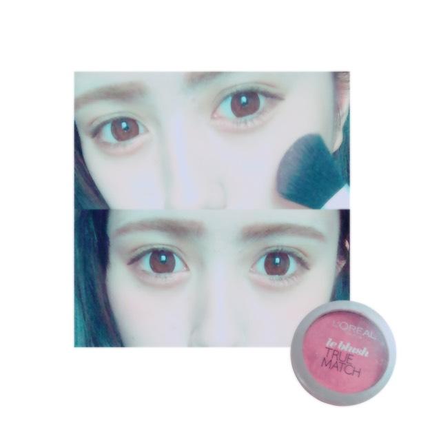 接著腮紅使用「L'Oréal Paris True Match Blush」的102號色,橫向塗在距離眼睛一根指頭的位置。