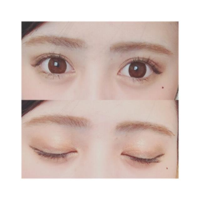 眼影使用帶橘色調的咖啡色系。雙眼皮摺寬處塗上明亮的橘咖啡色眼影,眼尾(眼睛後方1/3處)的地方開始塗上較深的眼影,製造出漸層效果。