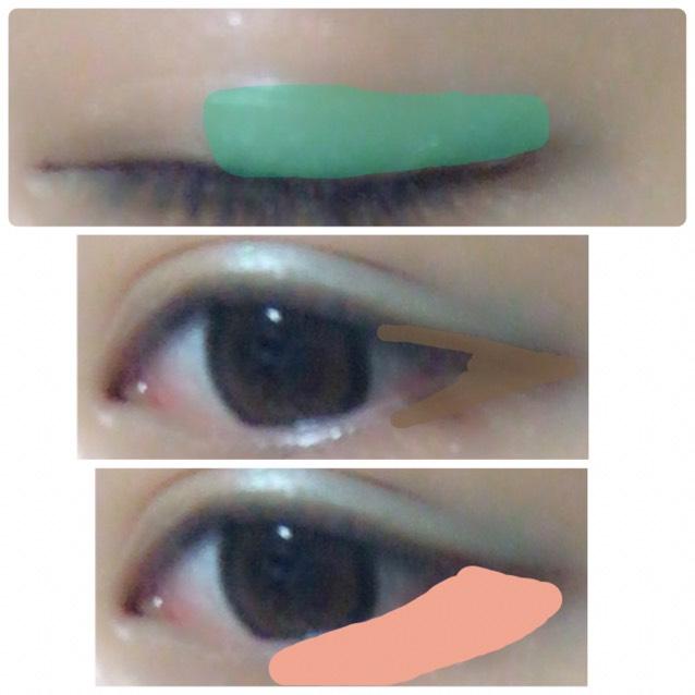 涙袋をかいて、緑のアイシャドウを二重幅、茶色のアイシャドウを目尻、オレンジのアイシャドウを目の下にする。