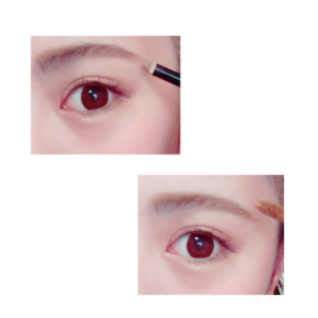 パウダーで眉毛全体を馴染ませたら 、眉毛マスカラで眉毛全体を染めます。  眉毛マスカラは最初眉毛を逆立てるように塗り、最後に眉毛を整えるという順番で塗ります。