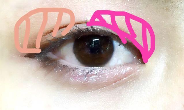 上瞼目頭側をピンク色に塗ります  目尻側をブラウンをぼかして塗ります