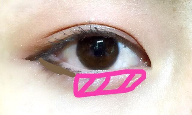 下まぶたも同じように 目頭側にピンク  目尻三分の一に濃いブラウンを塗ります