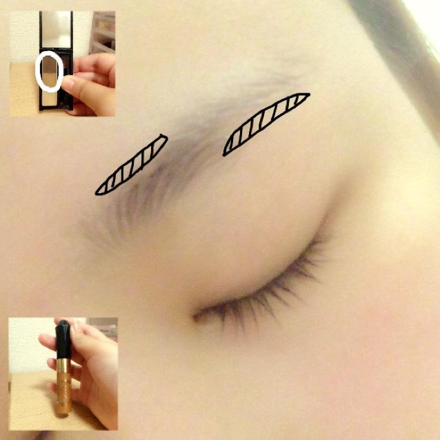 眉毛の足りない部分をペンシルで書き足します! あとはアイブロウパウダーを全体にのせます! で、眉マスカラを塗ります!