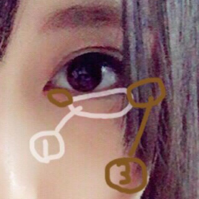 涙袋もさっきのアイシャドウを使います。 真ん中に1を、目尻、目頭に3を薄く塗り。 影をアイブロウペンシルで書き指でぼかします。
