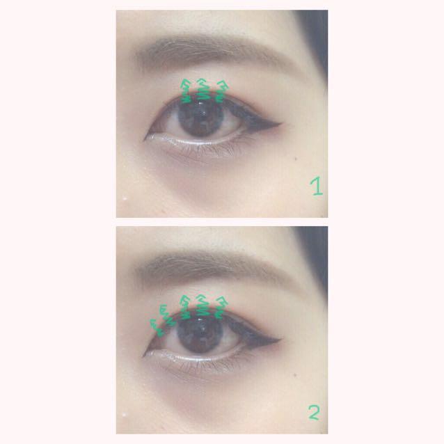 1.目の中央のまつげをギザギザしながら塗る 2.目頭のまつげを同じように塗る