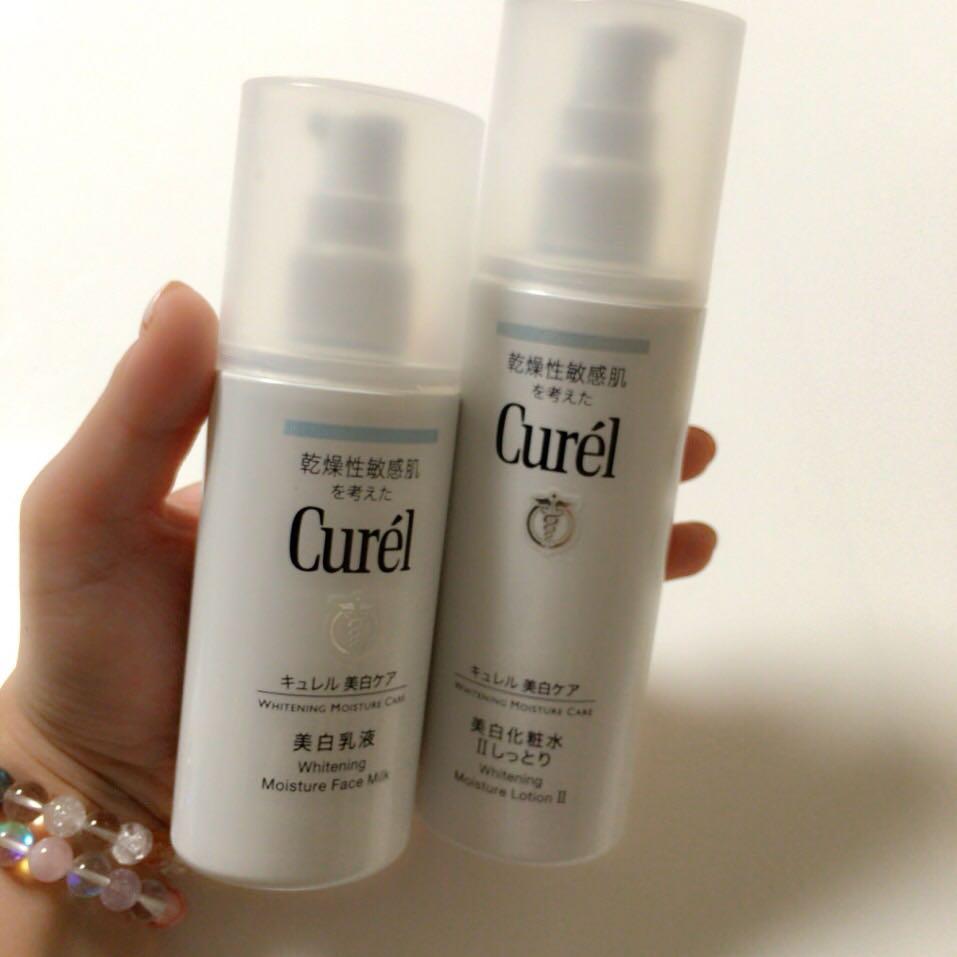 【保湿】(Cure′l) 洗顔後、化粧水→乳液 の順番でお肌を保湿。  ⭐︎POINT⭐︎ 化粧水をぬってから3分ほど時間を置き、さらに化粧水をお肌に浸透させてから乳液で保湿してあげるとツヤ肌になります!  (艶肌メイクで一番大事なのはメイク前の保湿なので、化粧水乳液はこれでもかっ‼︎ってくらいたっぷり使ってあげてね♡)