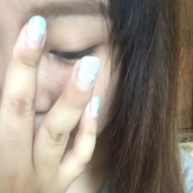 指でぼかします