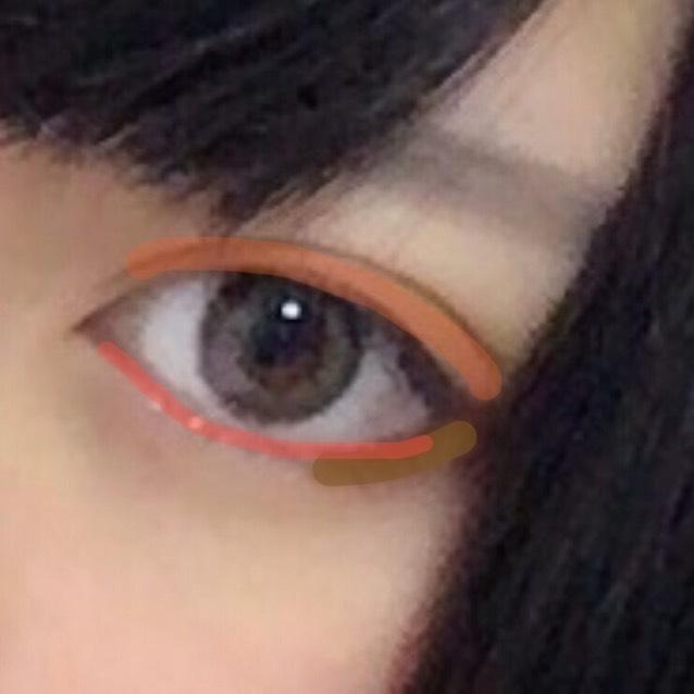 オレンジのアイシャドウを瞼に、ブラウンのアイシャドウを目尻のあたりに薄く塗り、赤いペンシルライナーを粘膜の近くに薄く引きます。