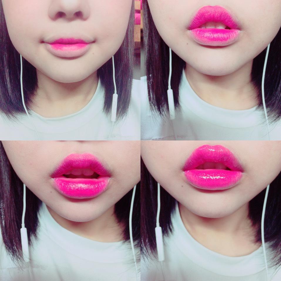 最後にリップです。 まずマットタイプの赤っぽいリップを唇の中央にのせます。それを指でぼかしたあと、自分で理想の唇の輪郭に整えます。このとき唇の山はしっかり色をのせましょう。 そして輪郭ができたら一度わたしはケイトのリップで全体をなじませてからグロスをたっぷりのせました。ぷるぷる唇になります