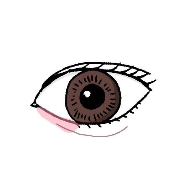 涙袋が物足りなかったら、アイブロウペンシルで涙袋の影を書く。 図の様に、目頭にピンクをのせる。