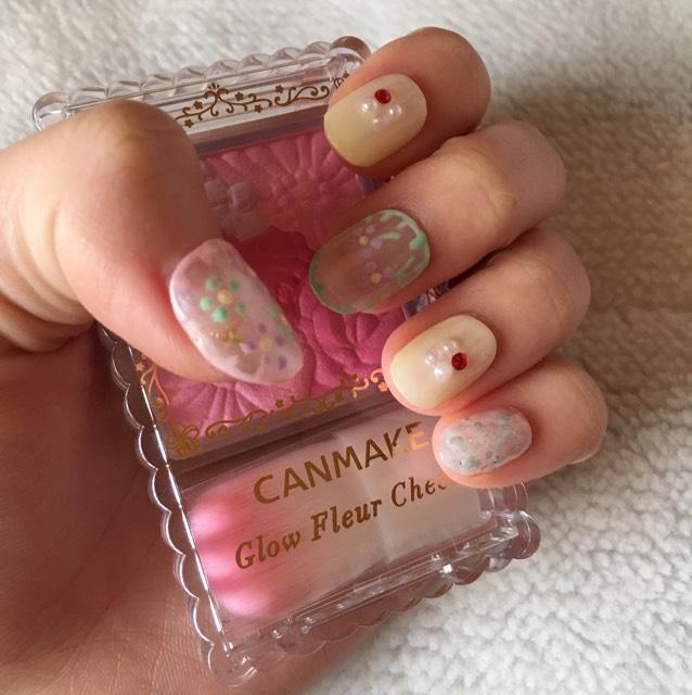 春ネイル~お花の刺繍風~
