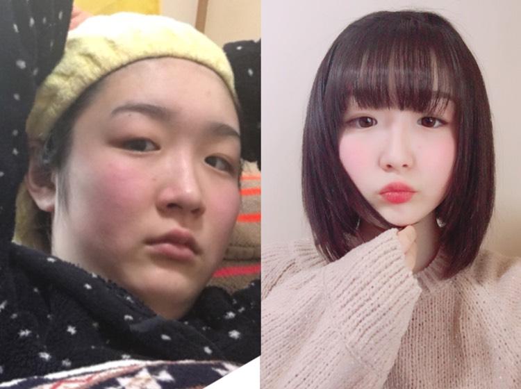 オルチャン詐欺メイク Before→After