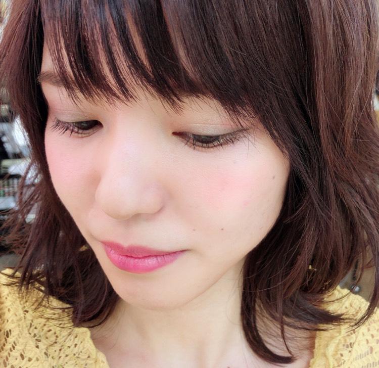 甘辛ミックスメイク♪アイ→グレーパープル、チーク&リップ→ピンク