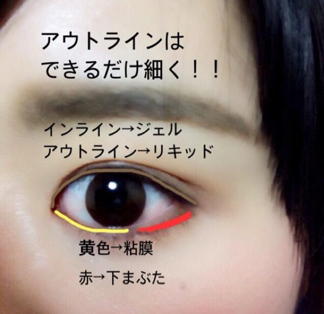 ⑤アイラインは上まぶたのインラインをジェルライナー、アウトラインをリキッドライナーでひきます。 アウトラインはできるだけ細くひきます。 下まぶたはジェルライナーを使って目頭から黒目の外側までを粘膜、黒目の外側から目尻までを下まつげの根元のところから目の形がタレ目に見えるように出来るだけ細くリキッドライナーで引きます。