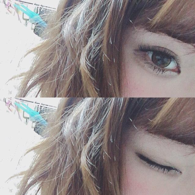 ダイアモンドラッシュの ヴェールeyeをつける  下睫毛にマスカラをぬる シャドウが薄いので 2度塗りして束感をだす