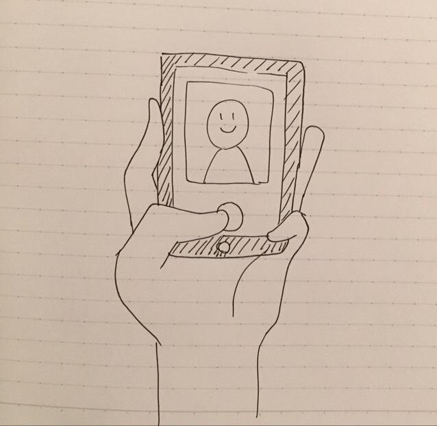 ちなみに自撮りをするときのスマホの持ち方は、人差し指と薬指でスマホをはさみ、中指で支えます。小指でスマホをガッチリ固定! シャッターは、親指で押します。 絵で説明するとこんな感じ、、、。 この時にカメラ位置は斜め上でスマホをすこし右に傾けます。小顔効果ですv(。・ω・。)ィェィ♪
