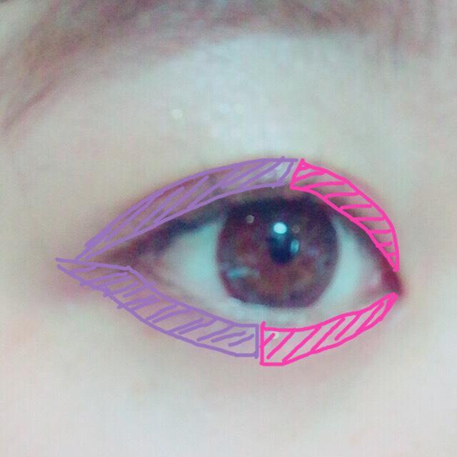 ピンクを目頭側半分に パープルを目尻側半分に 塗り、グラデーションにします✩*॰
