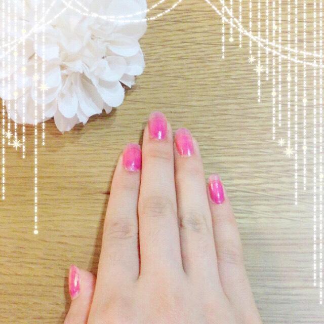 100均 リキュールネイル(ピンク)のAfter画像