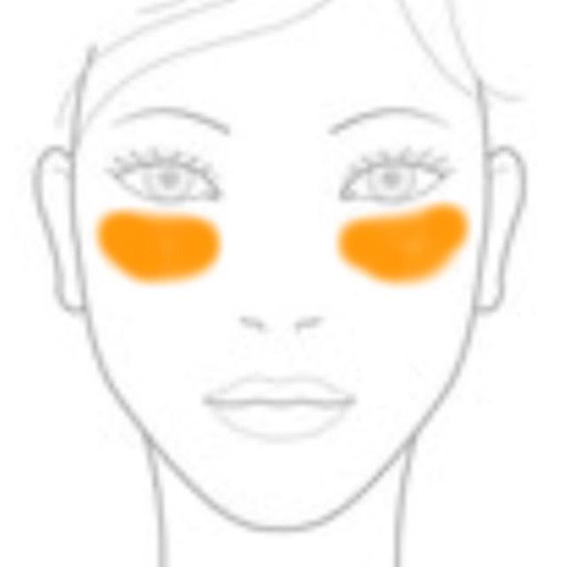 左図のように頬の高い位置(目の下)に日焼けチーク風にキャンメイクリップ&チークジェル02を中指にとって入れていく。