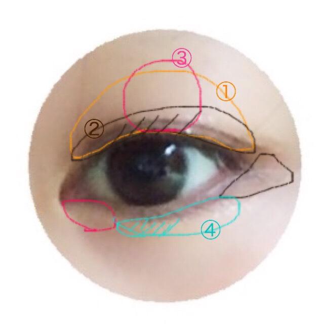 ①から④の番号にそってメイクしていきます。 ★目尻3分の1くらいのところにブラシで②の色をとってたれ目になるように入れていくと優しい目になれます。 目頭には、③の色をチップでちょんと置くとキラキラうるうるな瞳になれます。