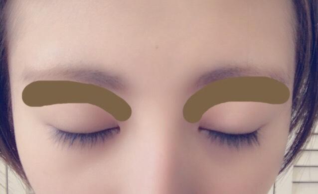 アイブロウパウダーで眉毛と写真の茶色く塗りつぶされてるところを塗ります。
