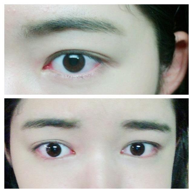 眉毛は太めの平行眉で印象を強めます。 目標は小松奈々ちゃんの眉毛。 フサフサ感を残すために、あえて眉マスカラをしないドライな状態にします。