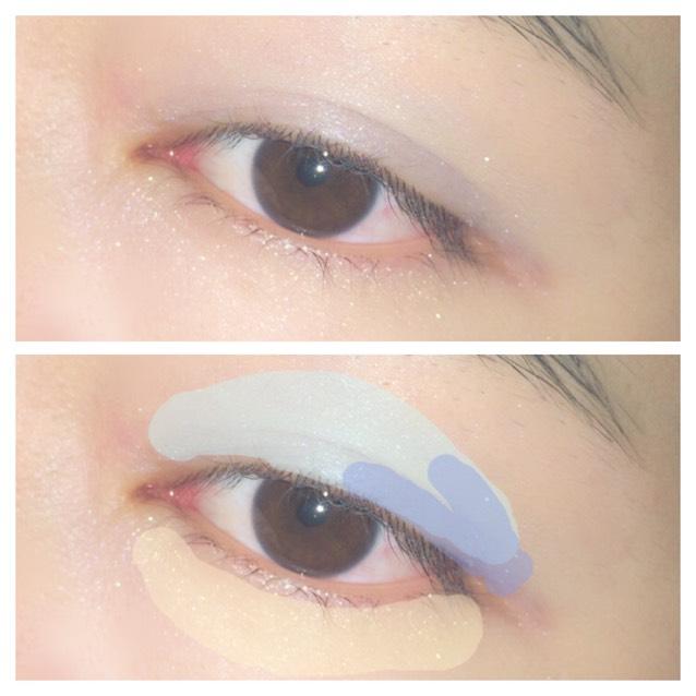 アイシャドウはブルーでアンニュイな印象に。 三白眼の人は囲み目メイクをすると本当に怖くなってしまうので、下まぶたは明るい色以外のせないようにします。