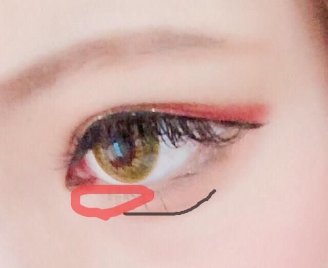 黒線→涙袋を書きます。 赤囲み→ハイライト  ライナーは少し垂れ気味で引きます。