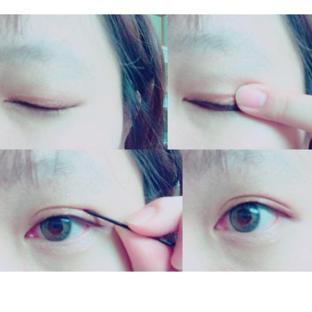 指で乾いたか確認し、乾いていたら軽くヘアピンでおさえながらゆっくりと目を開けます。 ヘアピンでおさえた方が綺麗に仕上がります。