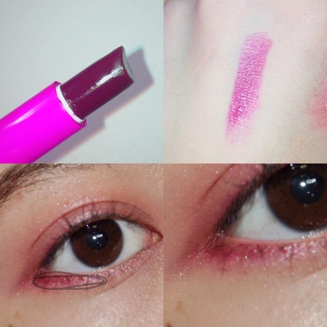 さっき使った色よりも濃い 赤色又は紫系を下の部分に塗ります!  私は紫の口紅を使いました^^  リップブラジ、綿棒などで塗るのがおすすめです◎