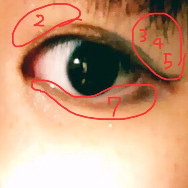 赤い枠で囲ったところに目頭②、瞼の目尻に③④⑤、粘膜のところに⑦のアイシャドウをいれます