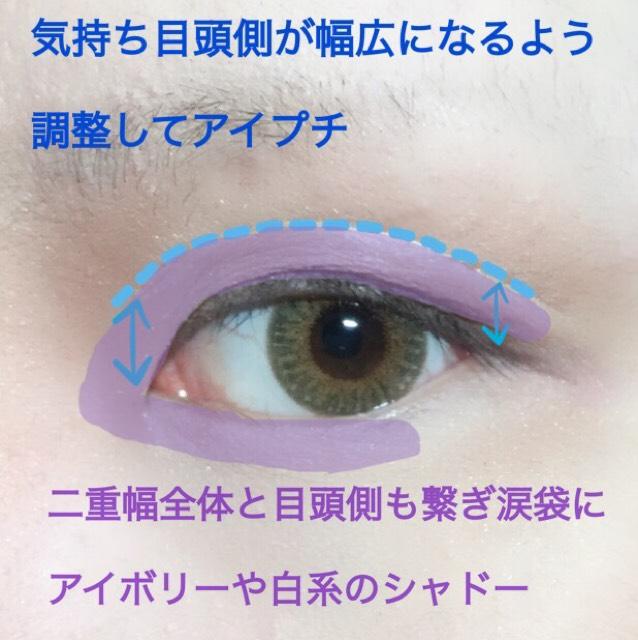 アイホール全体にマット系ブラウンで影をつけたら画像に記したポイントを踏まえ幅広の二重を作ります。 私の顔では二重幅と二重線から眉下の距離が同じくらいになる位置がベスト…