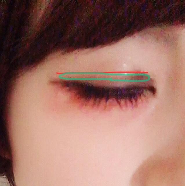 「アイトークの位置」 赤い線が二重にしたい線です。 アイトークを二重にしたい線の真下に塗ります。