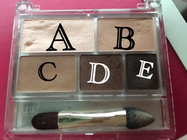 Aをまぶた全体 Bを二重幅 CとDを目の際 にぬります。  下まぶた↓ Cを目尻3分の1に引く Aで涙袋をかく Bで涙袋の影をかく。