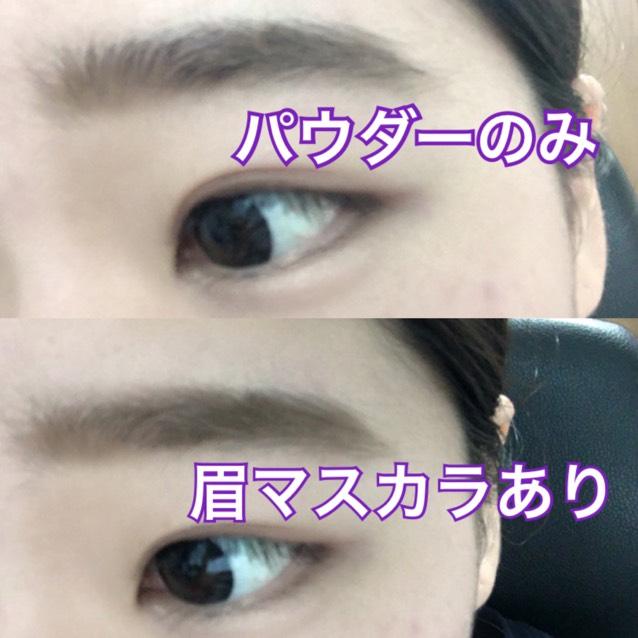 パウダーで眉頭と眉尻の足らない部分を書き足します。 気分で眉マスカラをします。 (((パウダーのみだとふんわり系、眉マスカラをするとすこし引き締まったメイクになります。)))