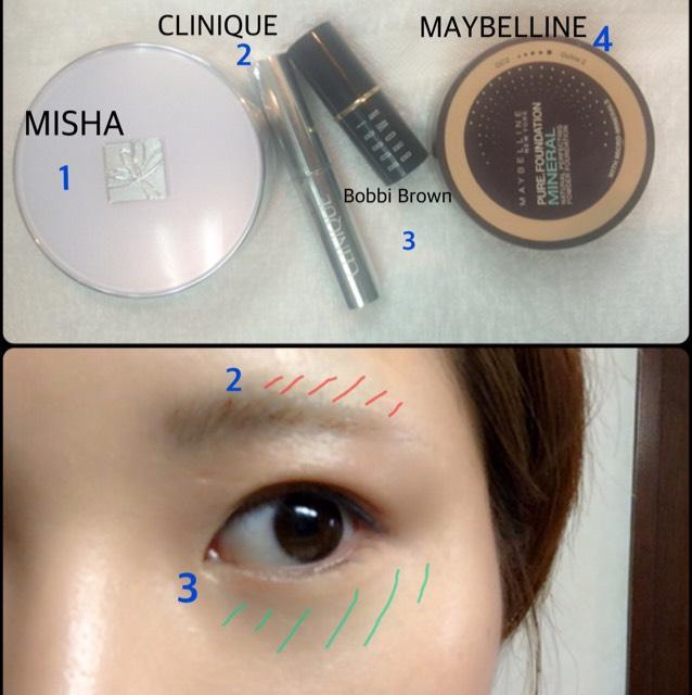 1のクッションファンデを軽く顔全体に。  ・コンシーラー 明るめ(3)でくまを、 眉の剃り跡を暗め(2)で消します。  夏で日焼けしたので首や体の色と浮かないように暗めのパウダー(4)をベースメイクの仕上げにサッと塗ります。
